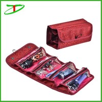 4 compartment travel toiletry organizer holder, promotion hanging roll-up cosmetic bag