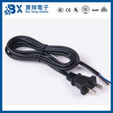 Chinese Standard 2 Flat Pin Plug to Pigtail End Power Cord for Hair Drier