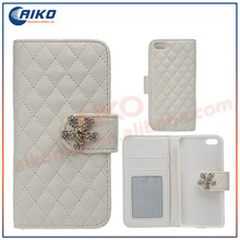 mobile phone case flip wallet stand 5 flower shaped with diamond for iphone 5g bling leather case