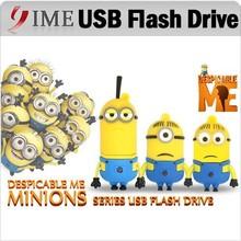 Cute Minions USB Flash Drive Yellow Man Usb Cartoon Memory Stick U Disk Real Capacity 4GB 8GB 16GB 32GB 64GB Pendrive Pen Drive