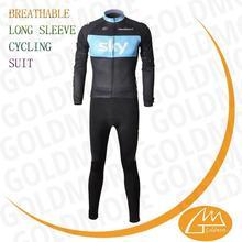 Stict QC 100% polyester Custom Sky team club cycling winter wear +Long pants set