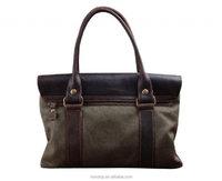 Retro Canvas Genuine Leather Crossbody Messenger Office Briefcase Shoulder Bag
