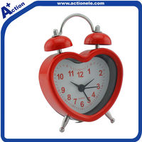 Metal red twin bell table alarm clock