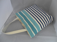 Hot sale canvas shopping tote bag with stripe print