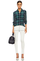 Equipment Signature Prepster Plaid Green Pine silk button down shirt blouse sets of pants and blouse for lady