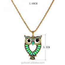 Elegant Rhinestone owl pendant necklace animal jewelry