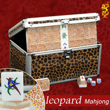 Deluxe Chinese Mahjong Set Leopard Custom Mahjong Tiles with Special Case