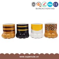 Cool gift leopard print cat paw design ceramic cup designs
