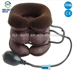 Brown Three Layers Neck Traction Device Cervical Traction medical neck brace