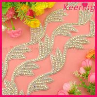 New arrival hand made AB color fancy rhinestone applique wave trim for dress WRA-706