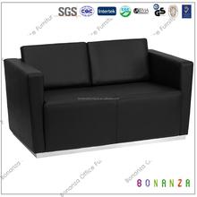 8009# 2015 Design Modern Stainless Steel frame lucky office furniture cheap love seater director sofa