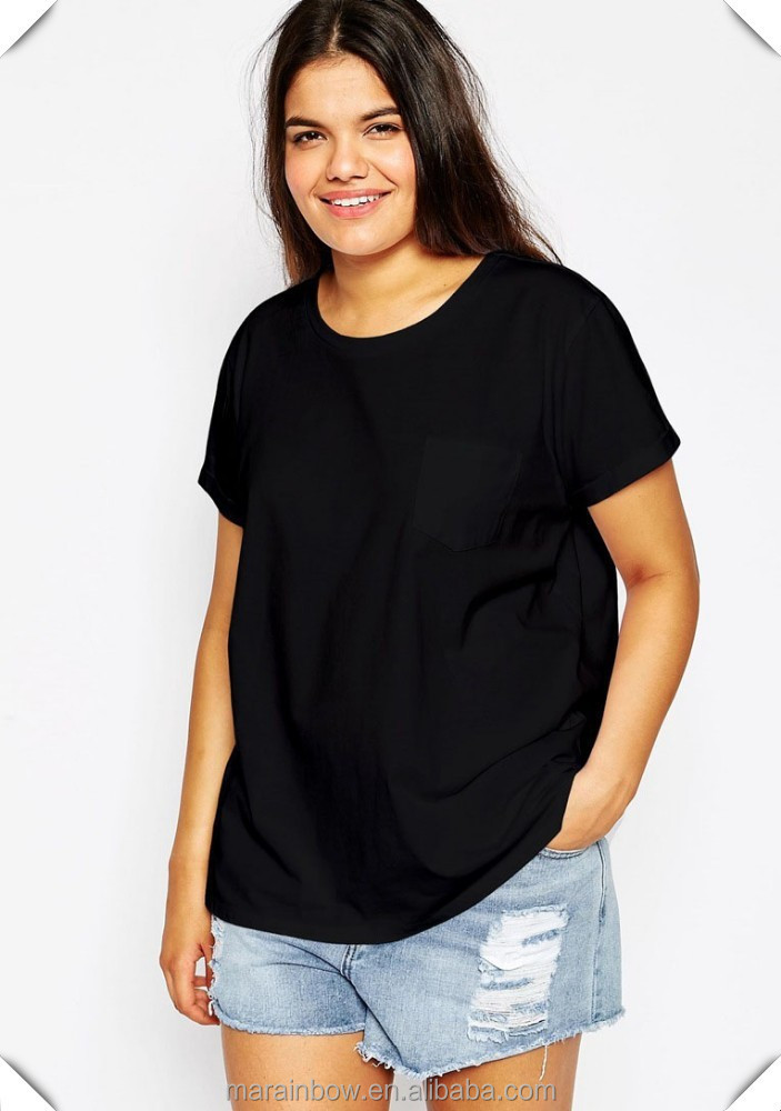 Womens black plain oversized pocket t shirt customized 100 for Womens black tee shirt