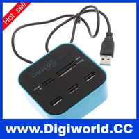Hot selling 3 port usb 2.0 hub combo card reader driver