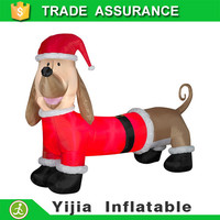 Dachshund in Santa Suit Outdoor Christmas inflatable Weiner dog decoration