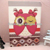 FL2824 2013 Guangzhou hot selling stand owl pattern wallet leather flip phone case with card holder for ipad air