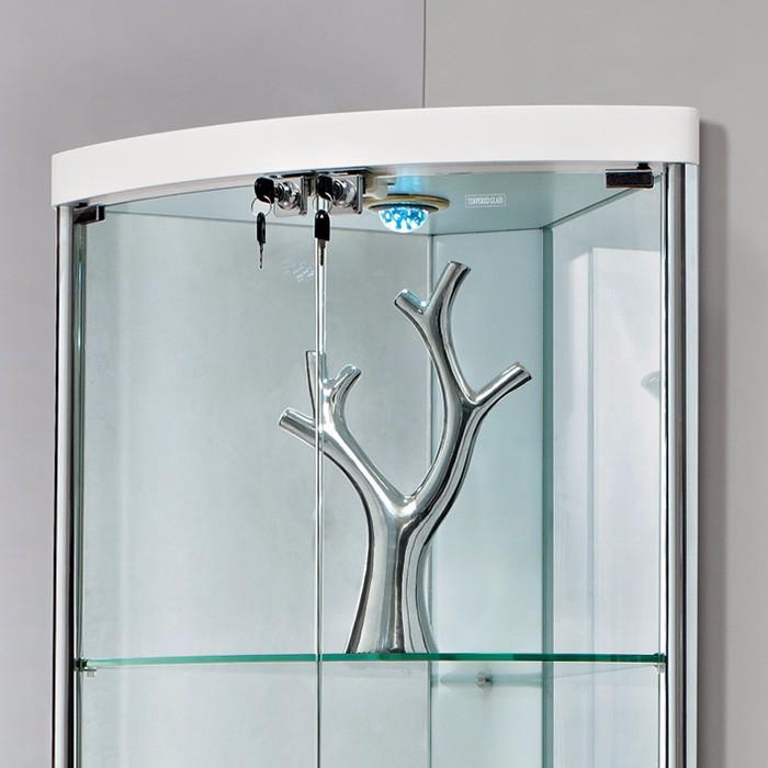 Salon meubles contract tremp tui de rangement en verre - Meuble d angle en verre ...