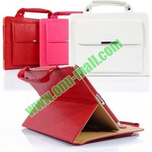 High Quality Multifunction Laptop Hand Bag with 3 folding Flip Stand and Strap Leather cases for iPad Mini