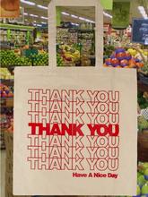 Custom natural color cheap Thank you tote shopping bag cotton