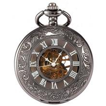 Antique Black Transparent Skeleton Necklace Mechanical Pendant Pocket Watch