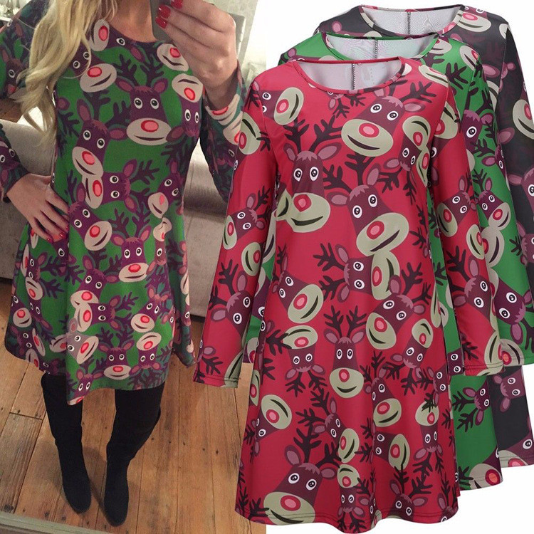 christmas snowman printed casual dress 7jpg