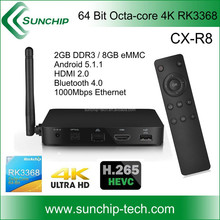 SUNCHIP CX-R8 Rockchip RK3368 Octa-core 4K TV Box /1000M Ethernet,4k*2k, and android 5.1.1 OS,2+8gb,64 bit.