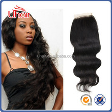Tangle & shedding free 4*4 lace closure quite beautiful body wave 100% cheap virgin indian hair lace top closure for black women