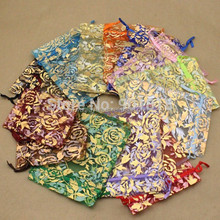 13*18cm In Stock Mixed Color Wholesale Drawstring Small Packing Rose Printed Organza Bag For Necklace