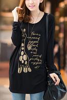 плюс размер xxxxl Корейский свободные битой длинный рукав круглый шеи женщин футболку рубашку печати женщин Женская одежда топы