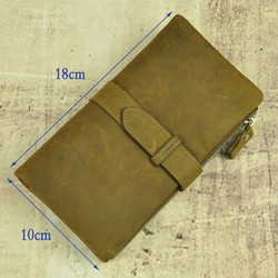 Vintage Designer 100% Genuine Leather Cowhide Men Long Clutch Wallet Wallets Coin Purse With Zipper Bag Pocket Man