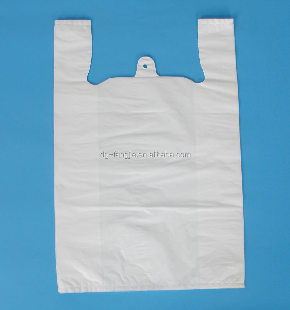 Custom special design personality logo handle plastic t for Custom plastic t shirt bags