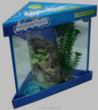 Blue min table glass aquarium with top and bottom cover