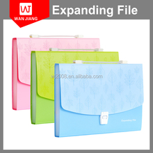 Portable hot sale A4 Size colorful pp office dull polish expanding file with handle