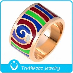 TKB-R0293 2015 Fashion vintage jewelry rotary whirlpools rose gold plated stainless steel enamel rings for unisex