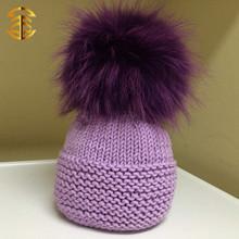2015 Hot mano tejer gorros de lana gran mapache o Fox bola sombreros Crocheted