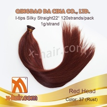 "Silky Straight 22"" 1g/strand Color: 37 (Rust) 1g/strand 100% Virgin Chinese Remy Human Hair I-tips extensions"