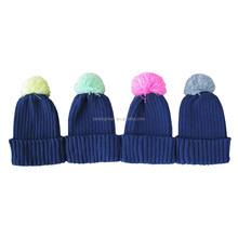 promotional acrylic rib knitting pom pom hat beanie