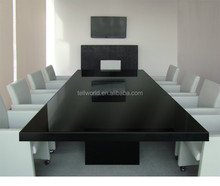 high quality black conference desk, modern meeting table for 20 seats
