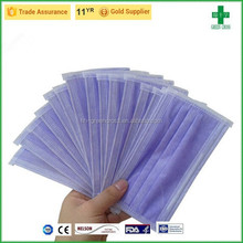 Well protective non-woven 3-ply disposable surgical purple face mask for Spring