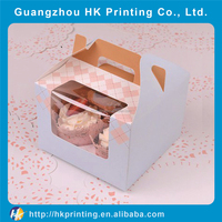 hot selling paper cupcake box with clear plastic cover