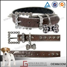 Luckgain new design China leather dog collars and tags