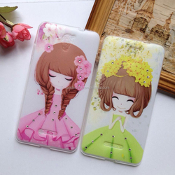 Fashion Diomand 3D flower girl print bling bling clear soft tpu case for huawei p8 lite,p7