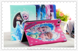 Cartoon Frozen Case w/Stand Holder Gril Elsa Anna PU Leather Flip Case for ipad mini 2 Cover Tablet Cases