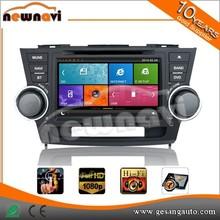 Newnavi 8 inch double din car dvd multimedia for TOYOTA Highlander 2008 with high quality gps, audio, 3g,wifi