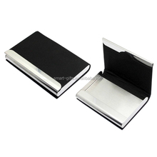 Creative metal and leather business card holder