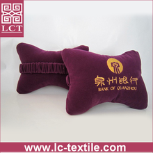 supply high quality grade flocking fabric cover bone shape memory foam neck pillow with your own brand embroidery(LCTP0185)