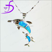 925 sterling silver blue fire opal fortune double dolphin pendant necklace