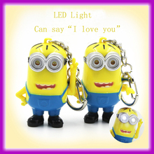 """Wholesale Latest 3D Plastic LED Light Minion Keychain With Sound Can Say """"I Love You"""""""