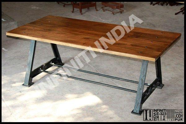 ANTIQUESQUARESTYLEVINTAGEINDUSTRIALMETALDININGjpg ~ Table A Manger Vintage Bois