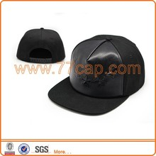 Factory Flat Bill Snap back Hats Pattern Embossed Leather