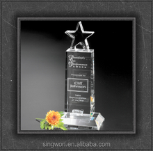 Perfect Clear Champion Pedestal Star Crystal Award